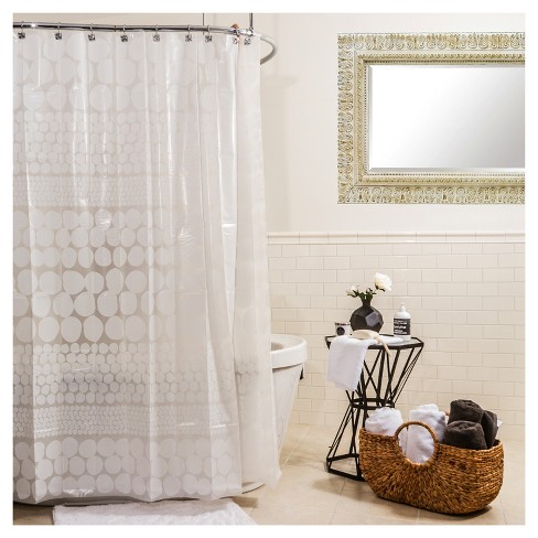 Polka Dots Shower Curtain White