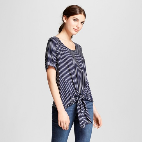 Women's Short Sleeve Striped Knit Tie Front Top - Vanity Room - image 1 of 2