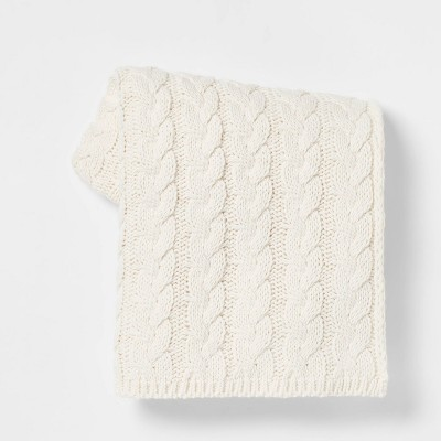 Solid Chunky Cable Knit Throw Blanket Ivory - Threshold™