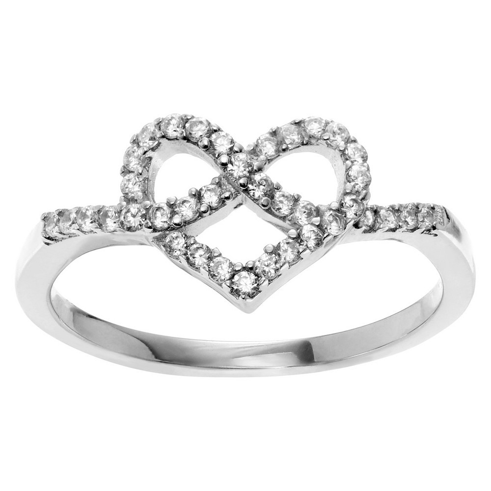 3/8 CT. T.W. Round-cut CZ Heart Accent Pave Set Ring in Sterling Silver - Silver, 8, Girl's