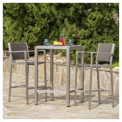Cape Coral 3pc All-Weather Wicker/Metal Patio Bar Set - Gray - Christopher Knight Home
