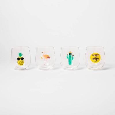 14oz 4pk Stemless Summer Wineglasses - Sun Squad™