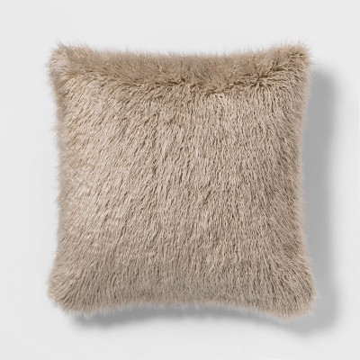 Mongolian Faux Fur Oversize Square Throw Pillow Tan - Project 62™