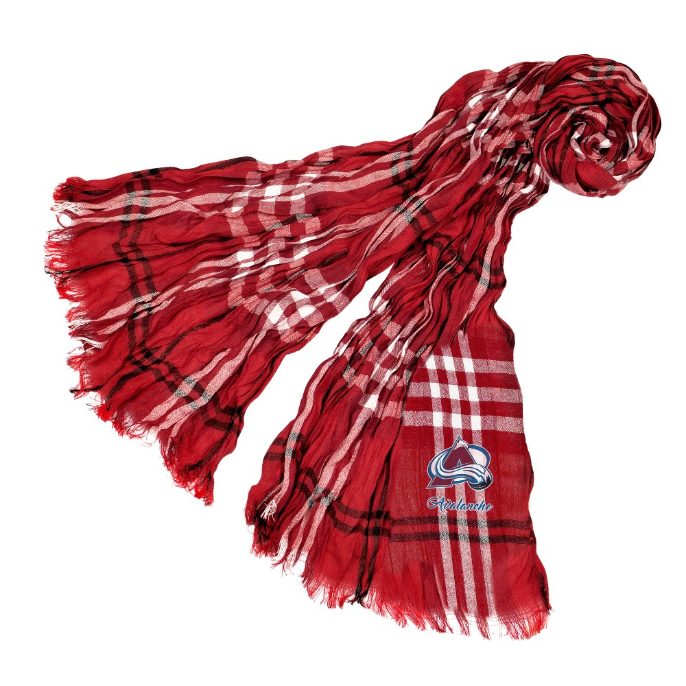 NHL Colorado Avalanche Plaid Crinkle Scarf, Kids Unisex