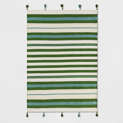 Teal Green Striped Tasseled Woven Area Rug 5'X7' - Opalhouse™