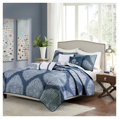 Audra Large Medallion Reversible Quilted Coverlet Set (King/California King)Navy - 6pc