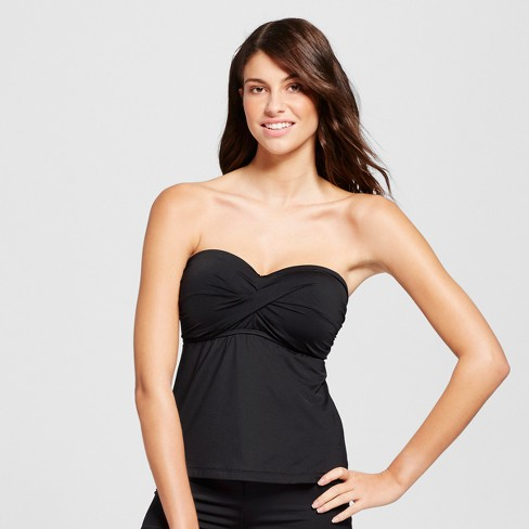 4b660618c4 Women's Molded Cup Twist Bandeau Tankini Top - Mossimo™ Black D : Target