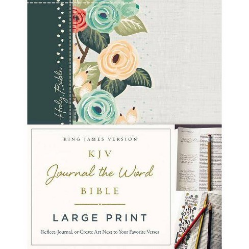 KJV, Journal the Word Bible, Large Print, Green Floral Cloth, Red Letter  Edition - by Thomas Nelson