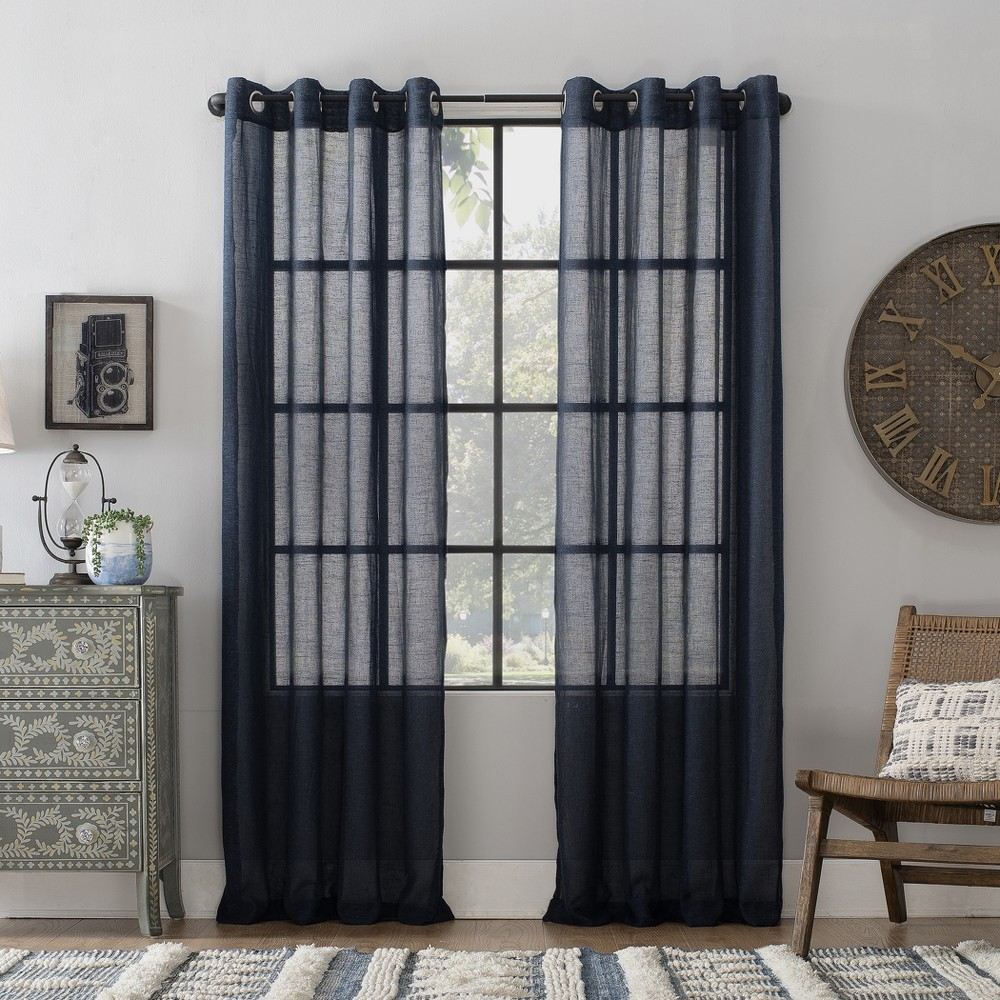 "Image of ""52""""x63"""" Slub Textured Linen Blend Grommet Top Curtain Navy (Blue) - Archaeo"""