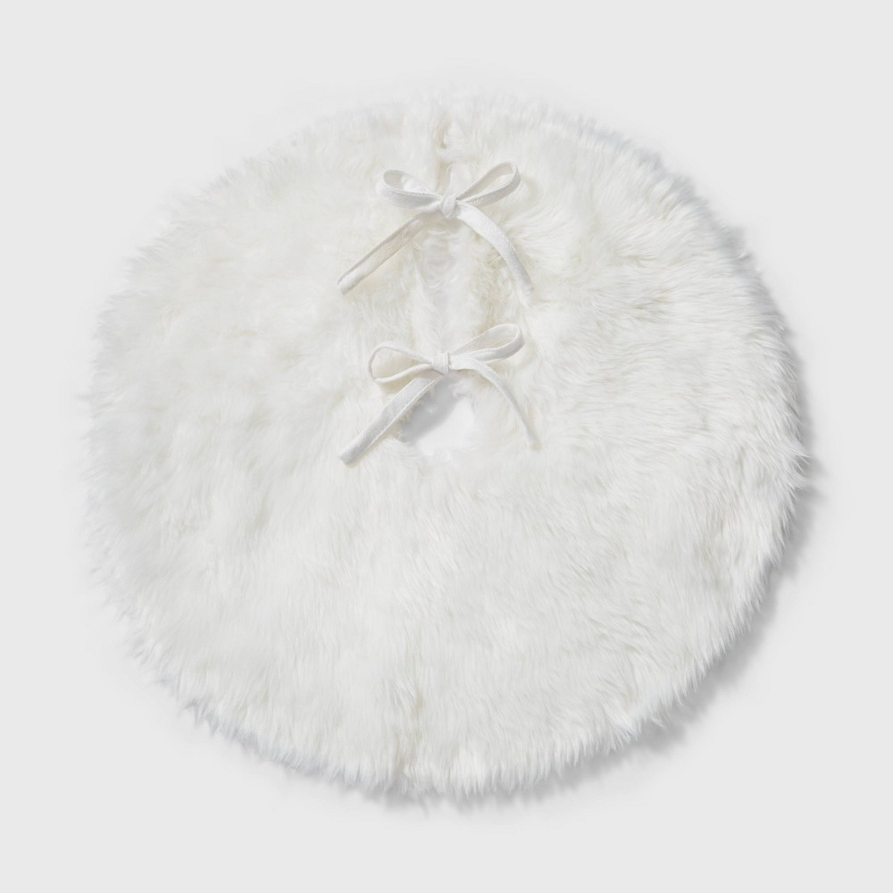 "Image of ""18"""" Mini Faux Fur Christmas Tree Skirt Cream - Wondershop , White"""