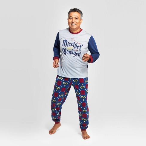 "Men's Harry Potter Holiday ""Mischief Managed"" Pajama Set - Navy - image 1 of 3"