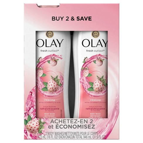 Olay Fresh Outlast Cooling White Strawberry & Mint Twin Body Wash - 32 oz - image 1 of 2