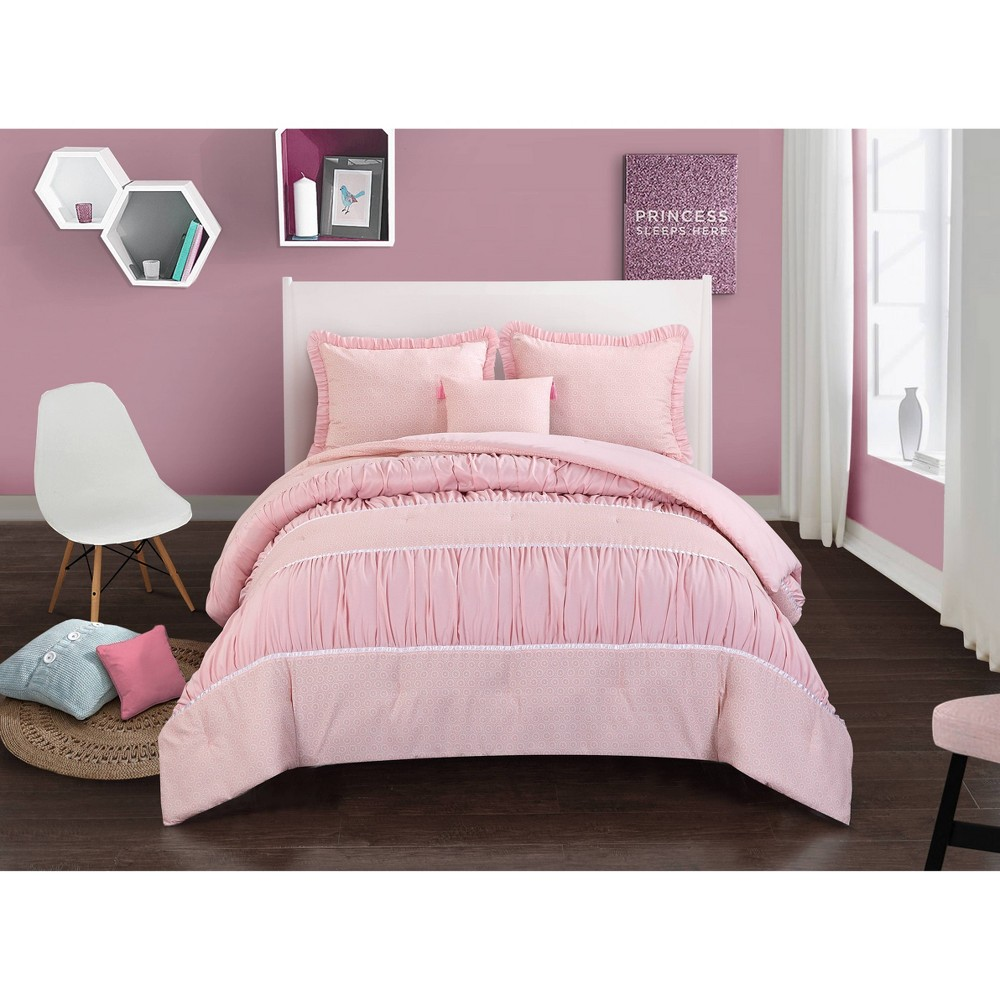 Image of Twin Addison Textured Comforter Set Pink - Heritage Club