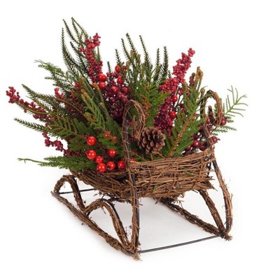 """Melrose 17"""" Red and Brown Mixed Pine Berry Sleigh Christmas Tabletop Decor"""