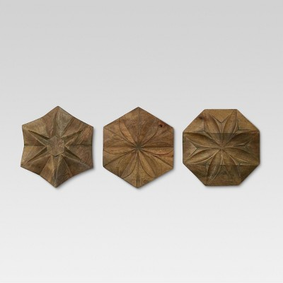 Carved Wood set of 3 - Threshold™