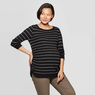 Maternity Striped Essential Side Shirred Pullover - Isabel Maternity by Ingrid & Isabel™ Black/White S