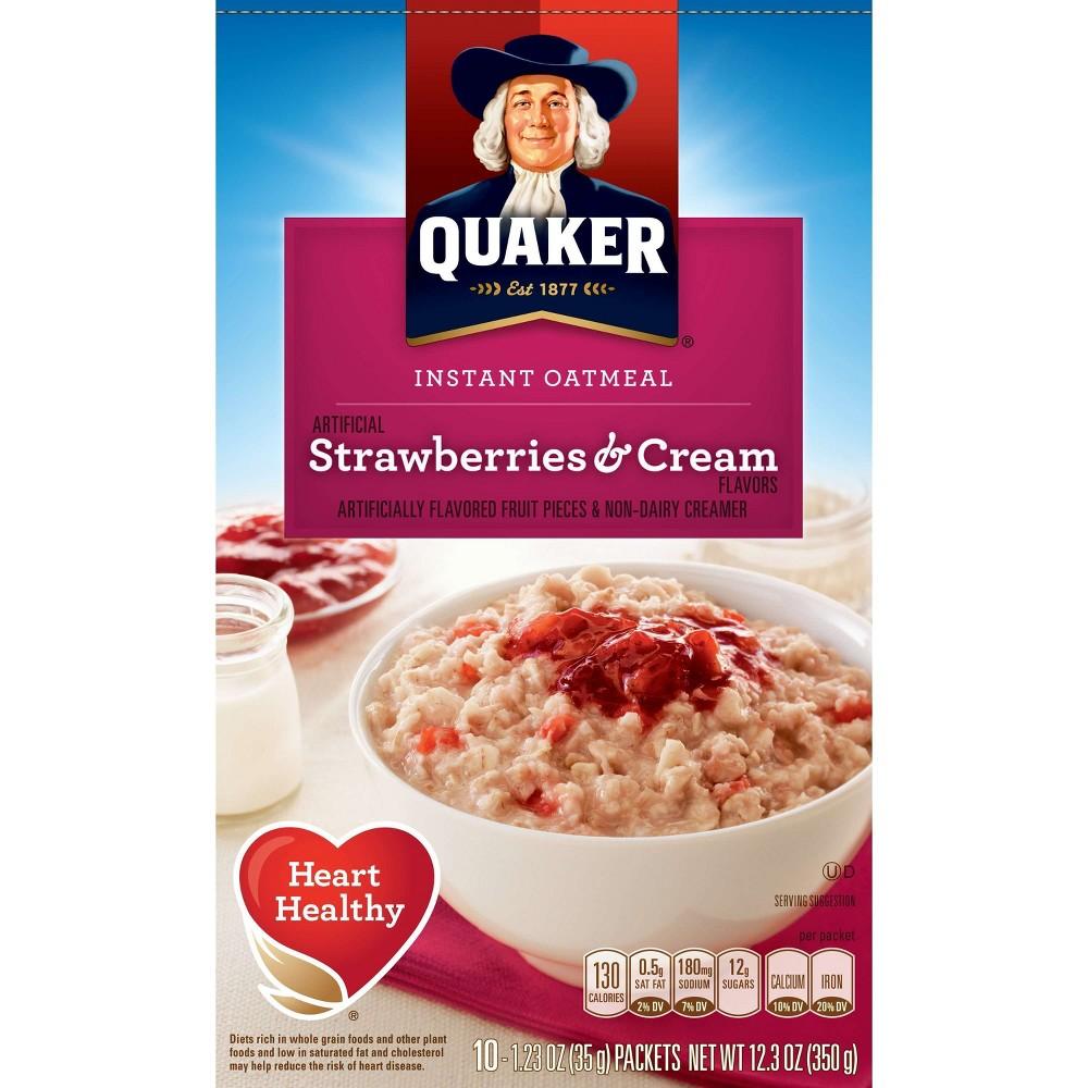 Quaker Strawberries & Cream Instant Oatmeal - 10ct