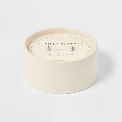 12oz Ceramic Wooden Wick Vanilla Pumpkin Candle - Threshold™