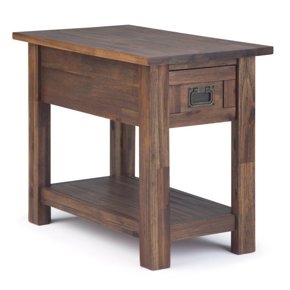 """Image of """"14"""""""" Garret Narrow Side Table Distressed Charcoal Brown - Wyndenhall"""""""