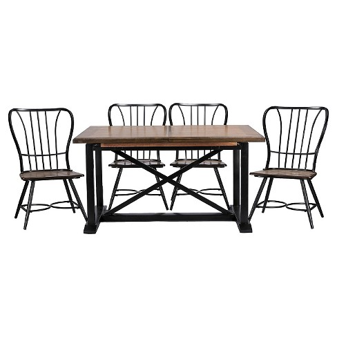 Longford Metal Vintage Industrial 7-Piece Dining Set - Baxton Studio - image 1 of 3