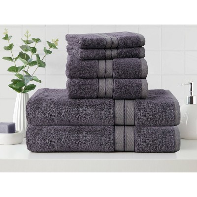 6pk Cotton Rayon from Bamboo Bath Towel Set Gray - Cannon