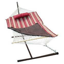 Patio 12' Hammock & Stand Set - Natural/Red/Brown