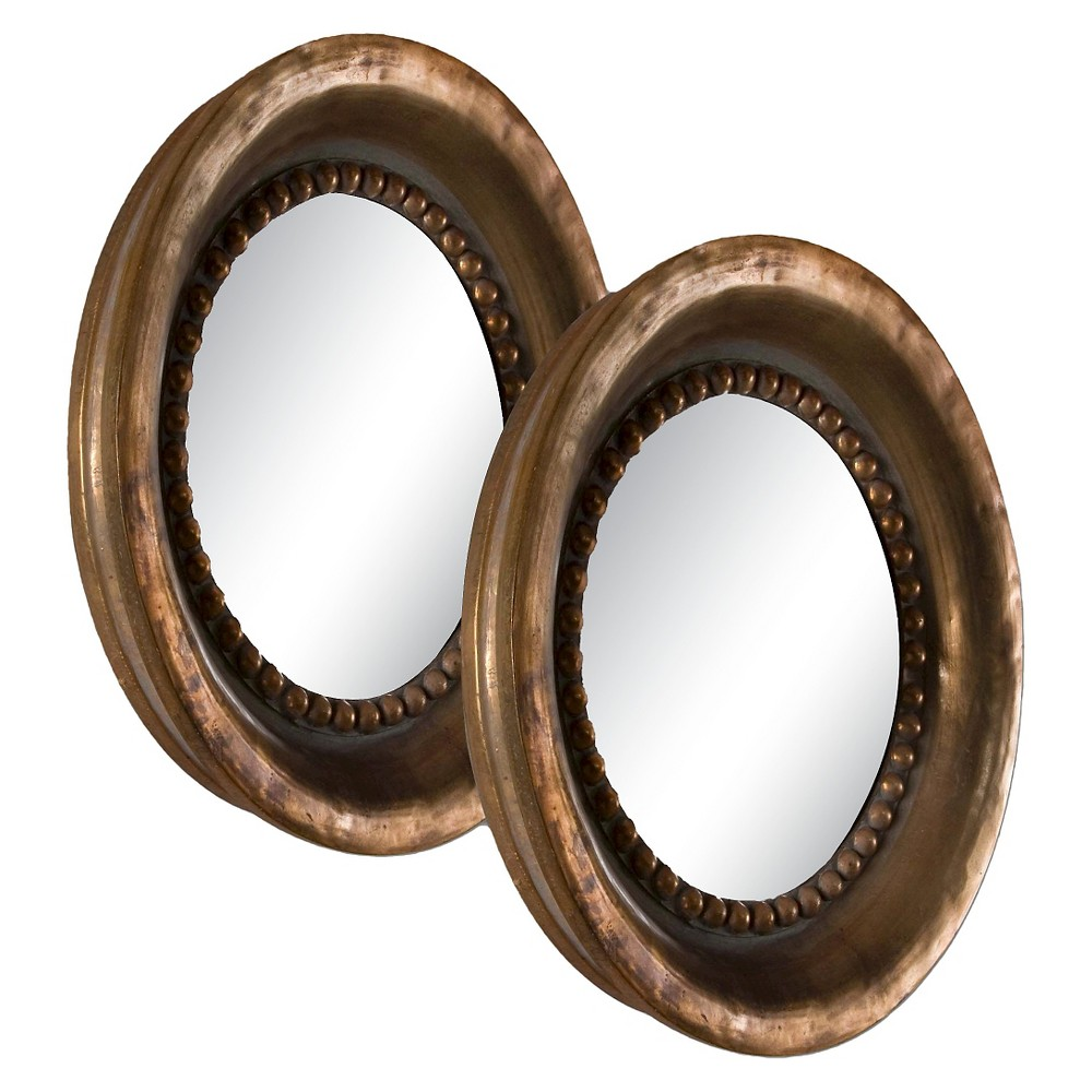Image of Round Tropea Wood Mirror Set of 2 - Uttermost, Brown