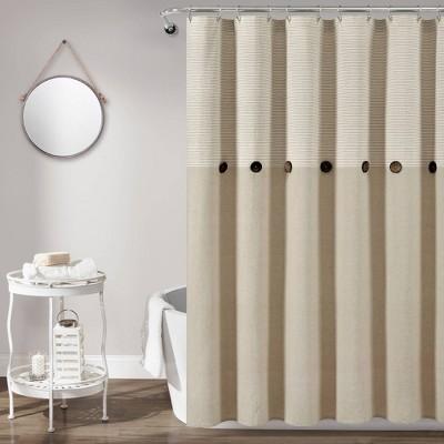 Farmhouse Button Striped Yarn Dyed Woven Cotton Single Shower Curtain - Lush Décor