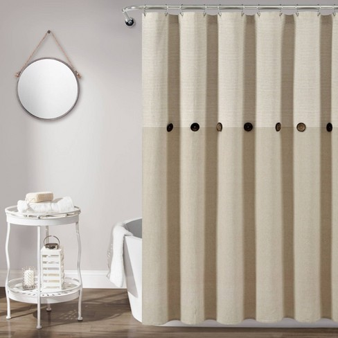 Farmhouse Button Striped Yarn Dyed Woven Cotton Single Shower Curtain Beige Lush Dcor Target