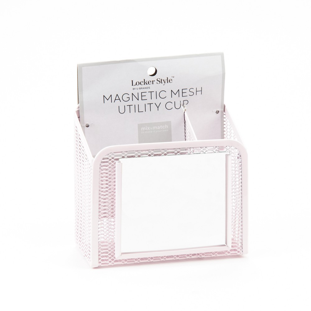 Magnetic Mesh Pencil Cup with Mirror Pink - Locker Style