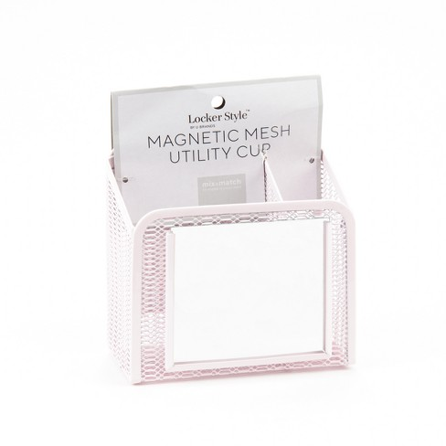 Magnetic Mesh Pencil Cup With Mirror Pink Locker Style Target