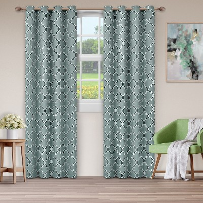 Geometric Trellis Thermal Insulated Blackout Curtain 2-Panel Set with Grommet Topper - Blue Nile Mills