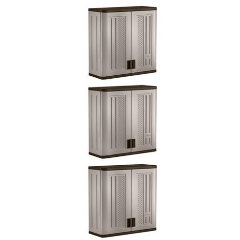Suncast 4 Ft Resin Single Shelf Garage Wall Storage Cabinet Platinum 3 Pack