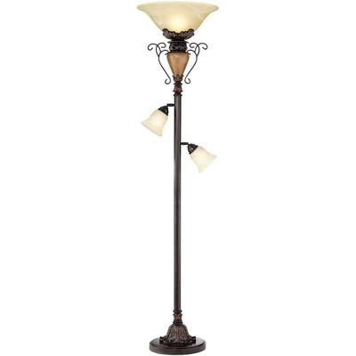 Regency Hill Traditional Torchiere Floor Lamp Tree Bronze Adjustable Alabaster Glass Shades Slide Dimmer for Living Room Reading