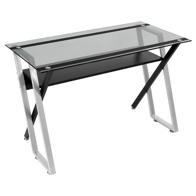 Colorado Metal and Glass Laptop - Writing Desk - Black/ Silver/ Clear Glass