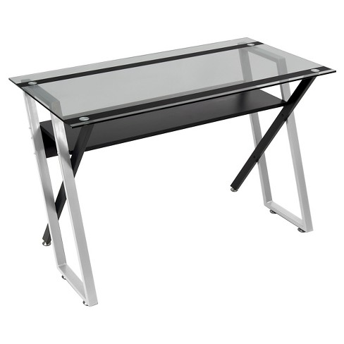 Colorado Metal And Glass Laptop Writing Desk Black Silver Clear