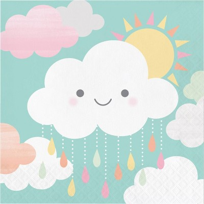 48ct Clouds Print Disposable Napkins