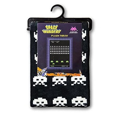 Crowded Coop, LLC Space Invaders Plush Lightweight Throw Blanket | 60 x 45 Inches