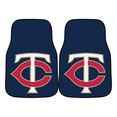 MLB Minnesota Twins Carpet Car Mat Set - 2pc