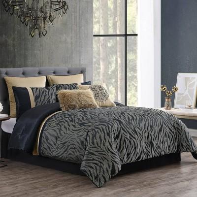 8pc Queen Kenya Comforter Set Black - Riverbrook Home