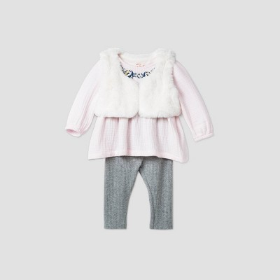 Baby Girls' Faux Fur Vest Top & Bottom Set - Cat & Jack™ Pink 0-3M
