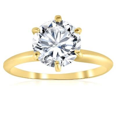 Pompeii3 2ct Solitaire Moissanite Engagement Ring Round Brilliant 14k Yellow Gold