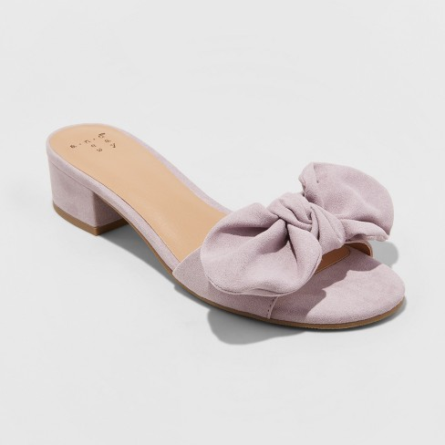 Women's Hyleta Knotted Bow Heeled Mules - A New Day™ Lavender - image 1 of 3