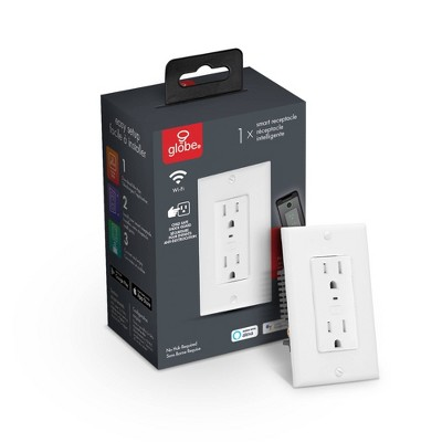Smart White Wi-Fi Enabled Voice Activated Power Outlet Receptacle
