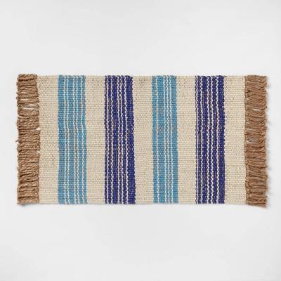 "34"" x 20"" Jute Striped Woven Rug Blue - Opalhouse™"
