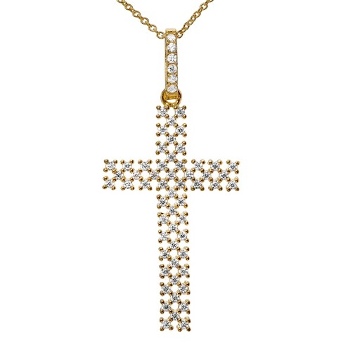 "5/8 CT. T.W. Round-cut CZ Pave Set Checkered Cross Pendant Necklace in Sterling Silver - (18"") - image 1 of 2"