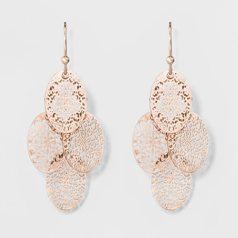 Women S Dangle Earrings With Four Filigree Ovals Rose Gold