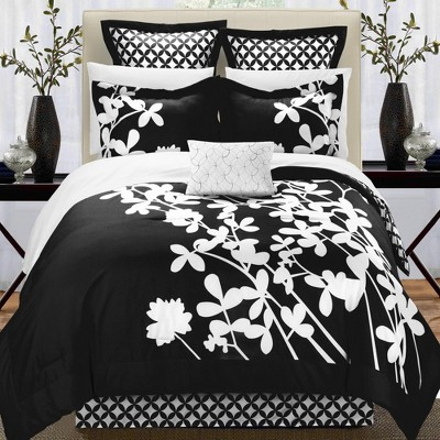 Chic Home Iris Elegant Reversible Black & White Contrast Luxury Comforter Bed In A Bag Set 7 Piece