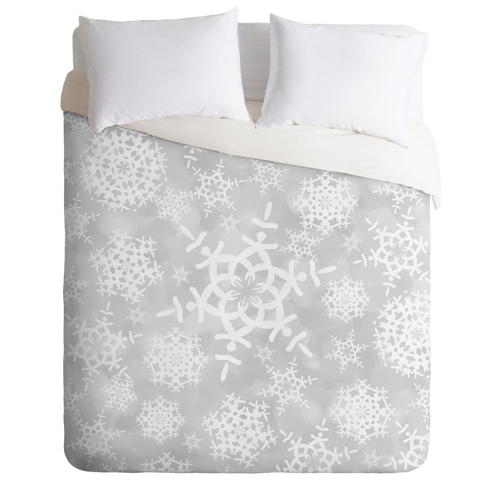 King Lisa Argyropoulos Snow Flurries in Gray Duvet Cover Set Gray - Deny Designs
