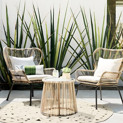 Latigo 3pc All Weather Wicker Outdoor Patio Chat Set Tan Threshold Target